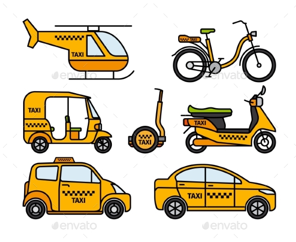 Taxi Thin Line Icons - Man-made Objects Objects
