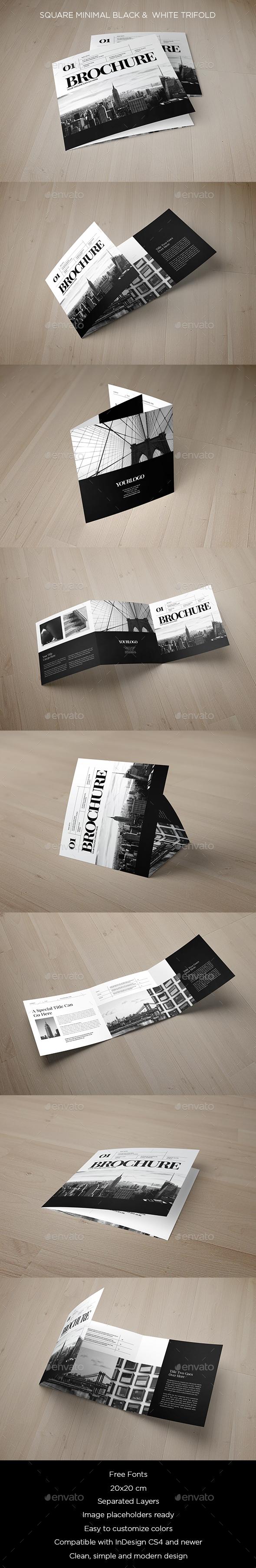 Square Minimal Black & White Trifold - Brochures Print Templates
