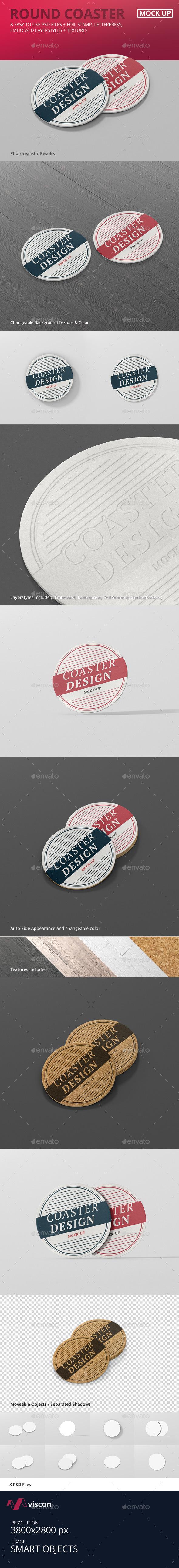 Round Coaster Mock-Up - Stationery Print