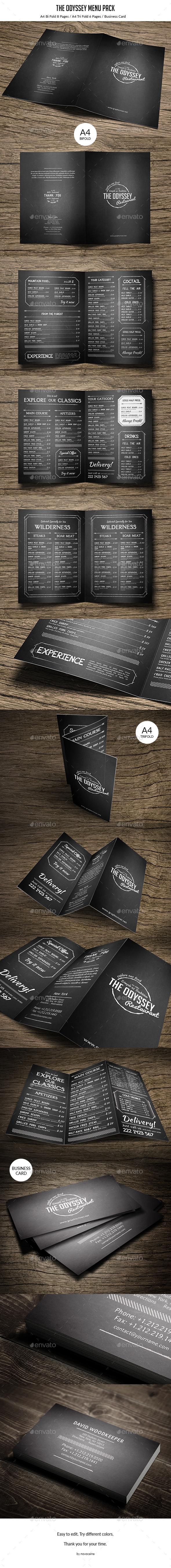 The Odyssey Menu Pack - Minimal and Retro - Food Menus Print Templates