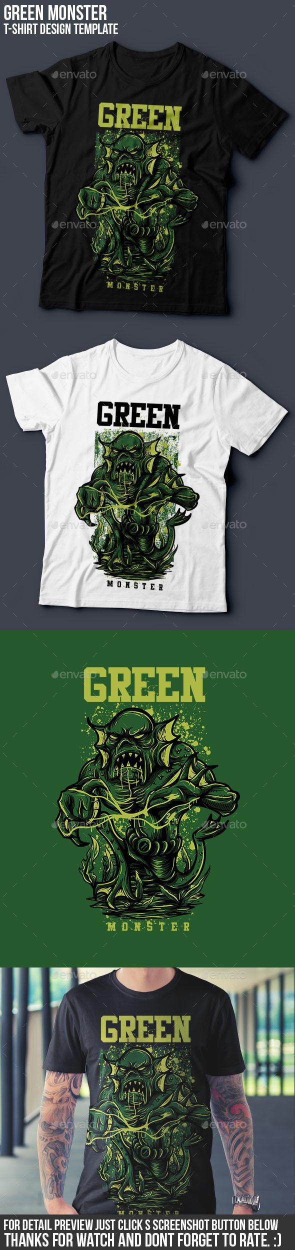 Green Monster T-Shirt Design - Grunge Designs