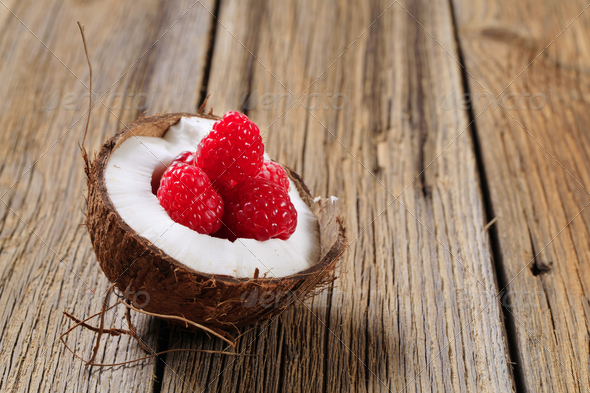 Coconut and raspberries - Stock Photo - Images