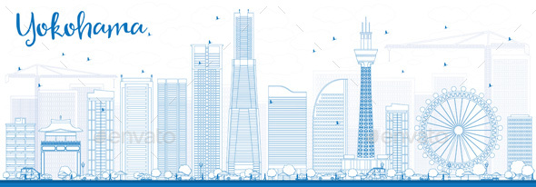 Outline Yokohama Skyline with Blue Buildings - Buildings Objects