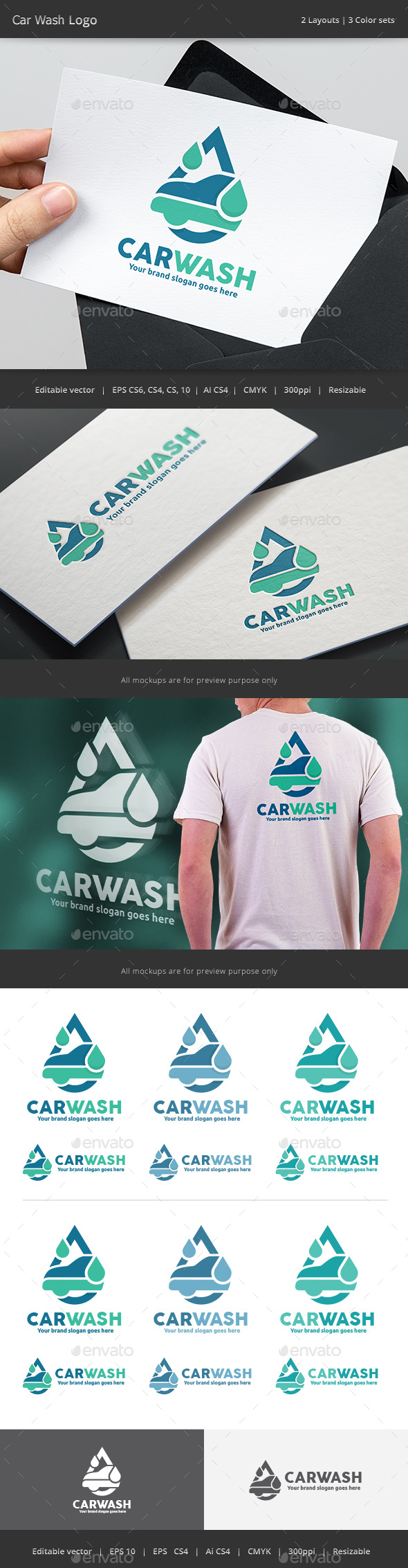 Auto Car Wash Logo - Vector Abstract