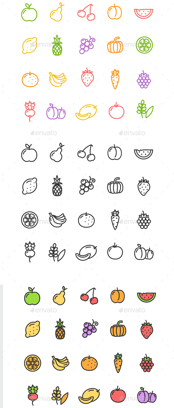 Fruits and Vegetables Icon Set - Food Objects