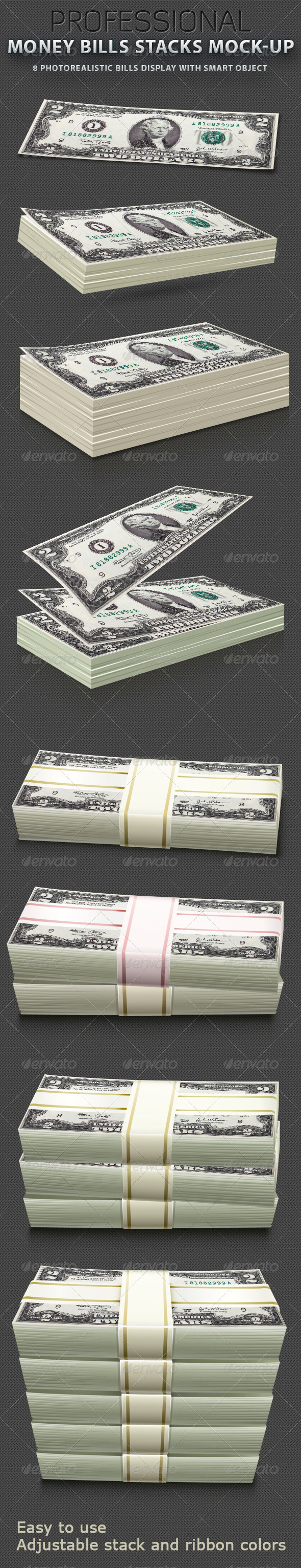 Money Bills stacks Mock-up - Miscellaneous Print