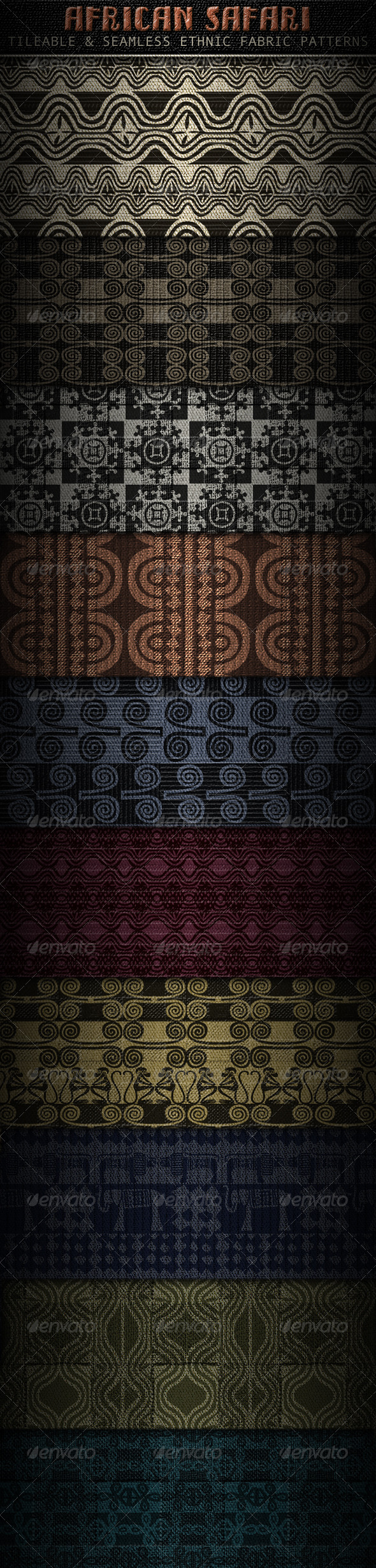 Ethnic Fabric Patterns; Africa inspired - Patterns Backgrounds