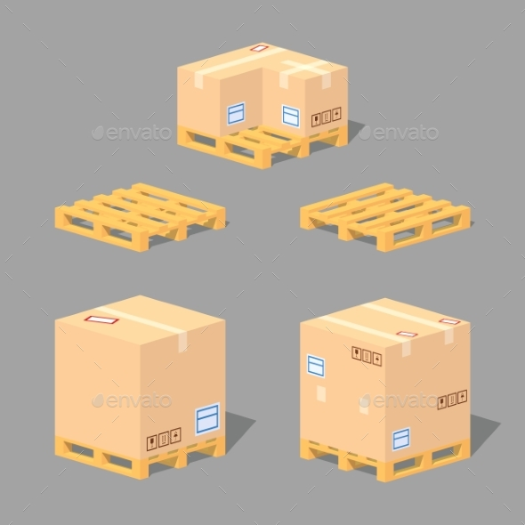 Low Poly Cardboard Boxes on Pallets - Man-made Objects Objects