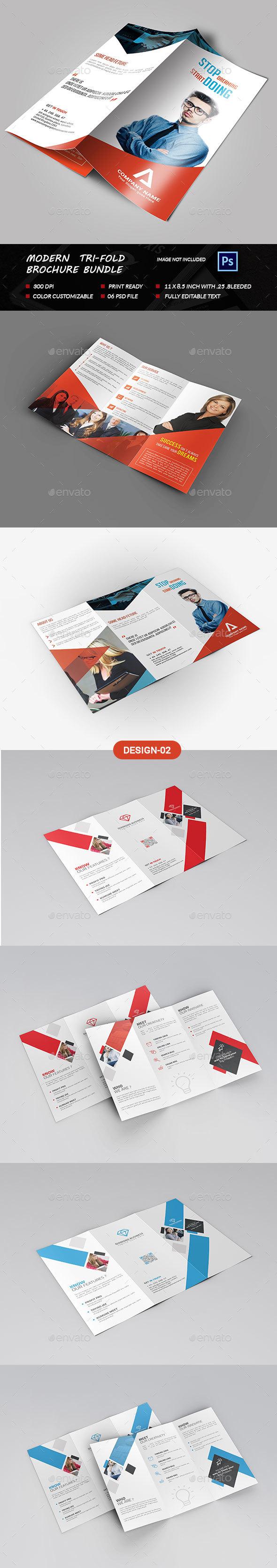 Modern Tri-fold Brochure Bundle  - Brochures Print Templates