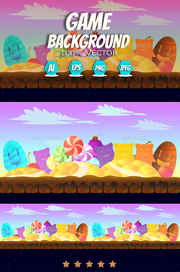 Seamless Candy Game Background - Backgrounds Game Assets