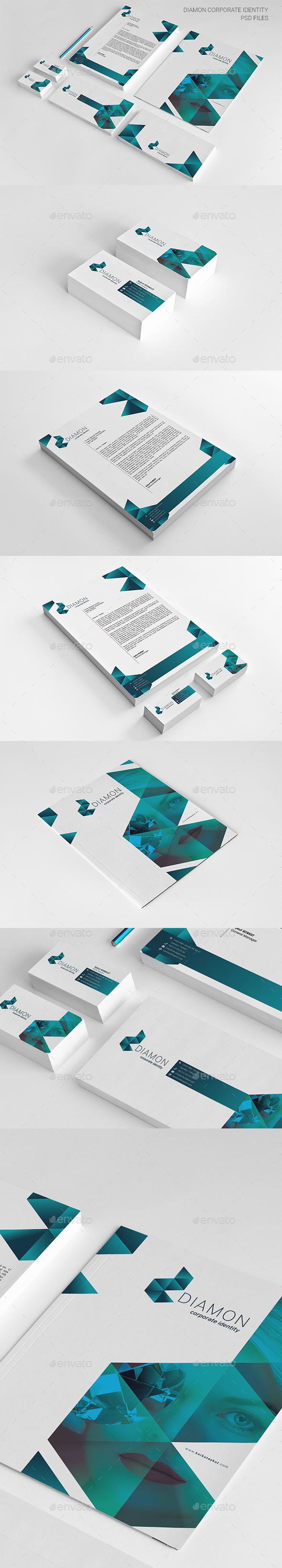 Diamond Corporate Identity Package - Stationery Print Templates