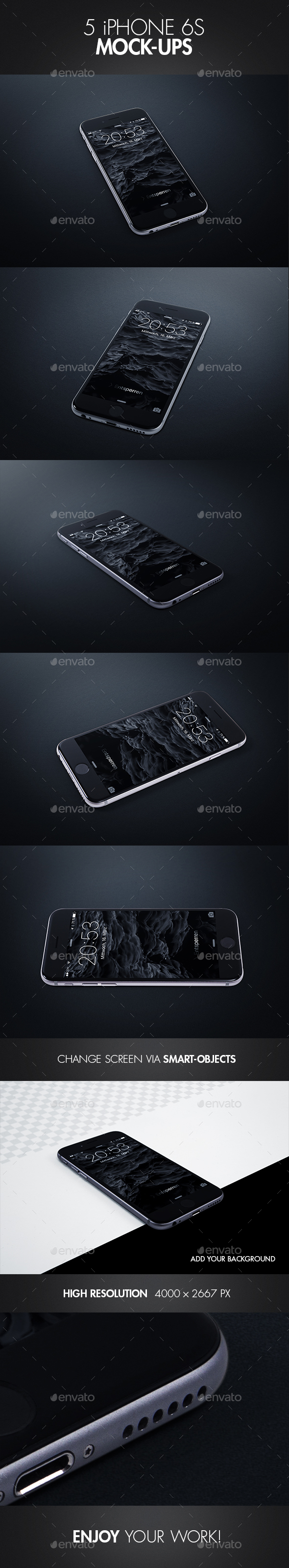 5 iPhone 6s Mock-Ups - Mobile Displays
