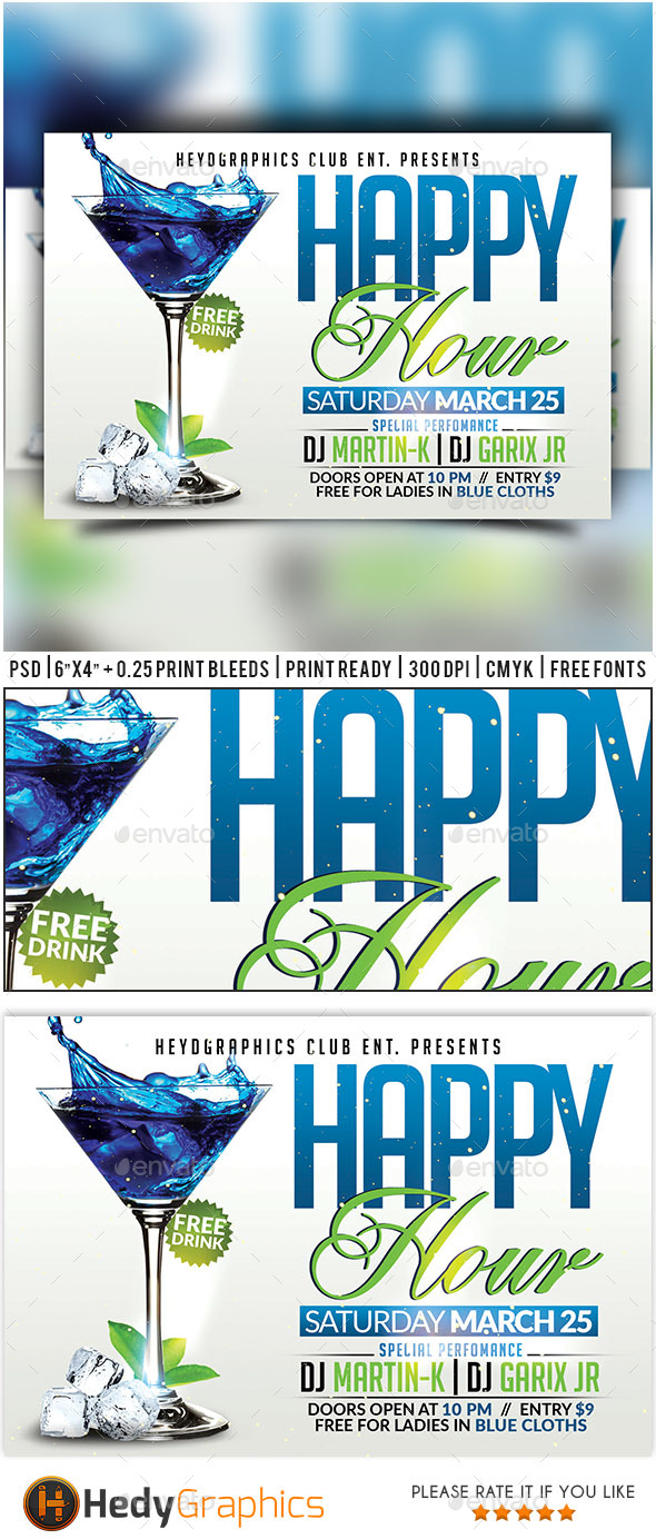 Happy Hour - Flyer Template - Clubs & Parties Events
