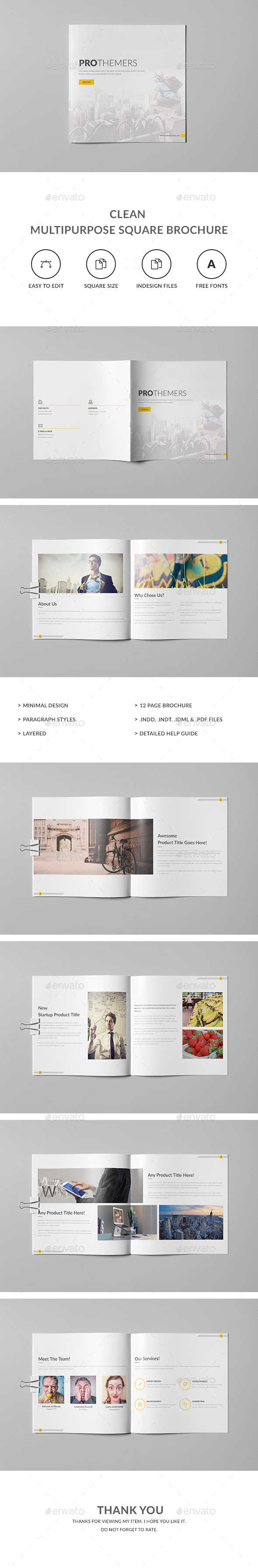 Clean Multipurpose Square Brochure Template - Corporate Brochures