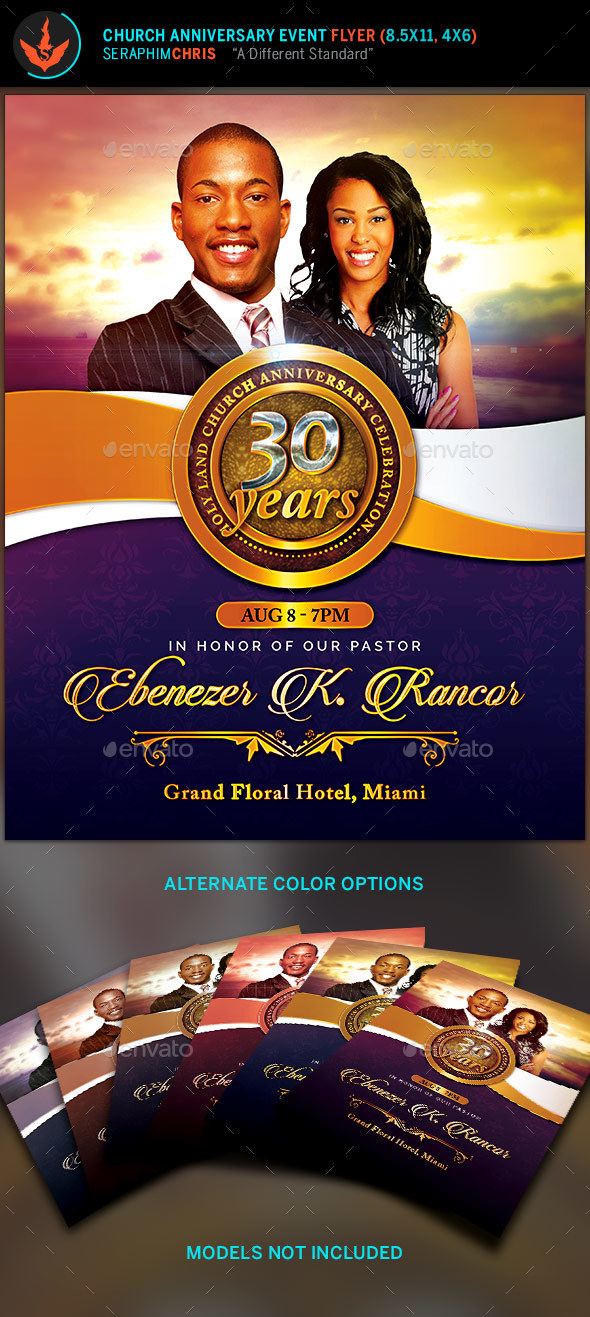 Church Anniversary Flyer Template   Church Flyers