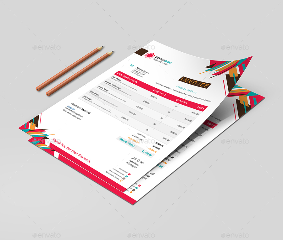 colorful corporate invoice by designsign | graphicriver, Invoice templates