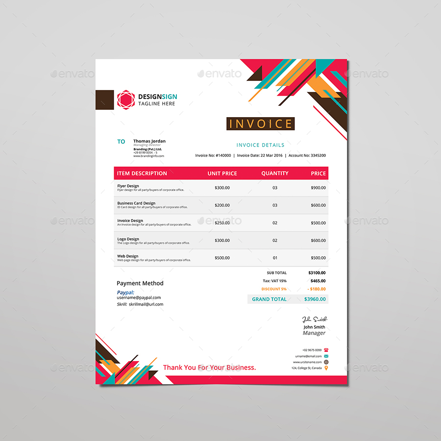 colorful corporate invoice by designsign graphicriver