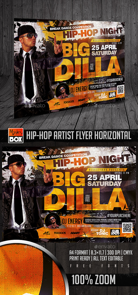 Hip-Hop Artist Flyer Horizontal - Flyers Print Templates