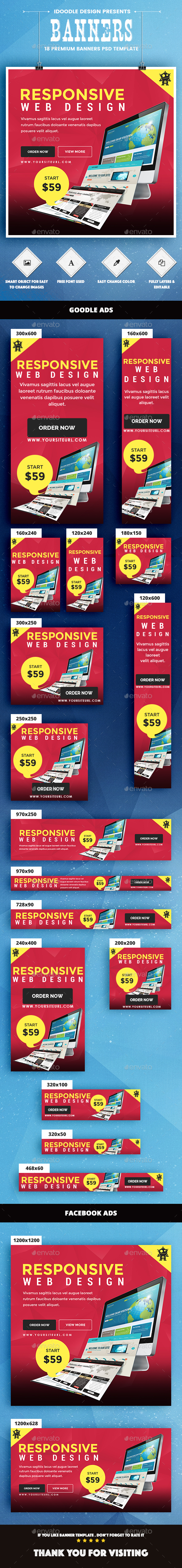 Web Design Banners Ads - Banners & Ads Web Elements