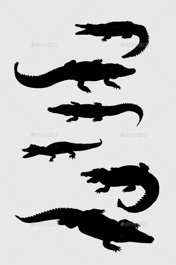 Crocodile Silhouettes - Animals Characters