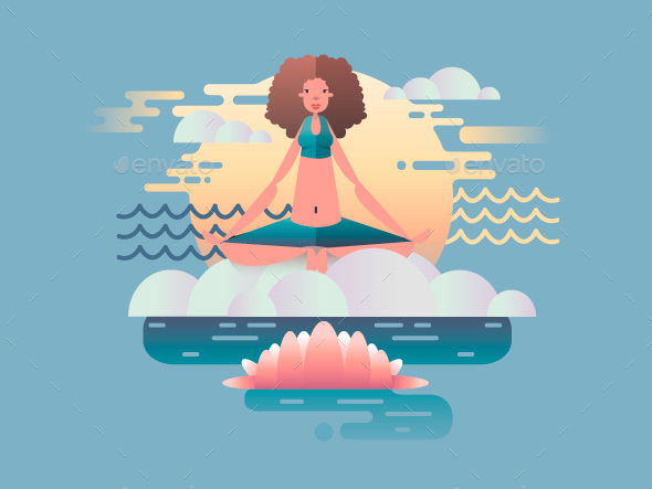 Woman Meditation Design Flat - People Characters