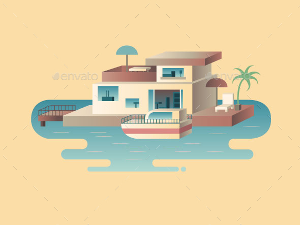 House On Water With Yacht - Buildings Objects