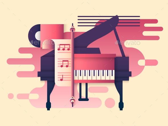 Piano Design Flat - Objects Vectors