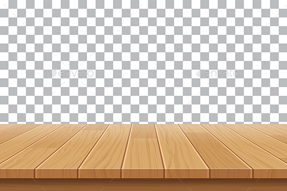 Wood Table Top On Isolated Background By Kaisorn
