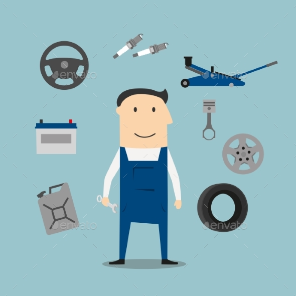 Car Mechanic Profession and Equipment Icons - Industries Business
