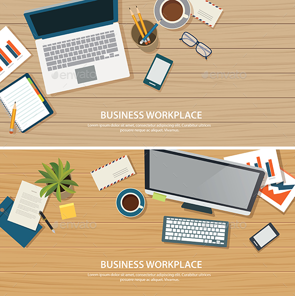 Top View Office Workplace on Wood Table - Backgrounds Business