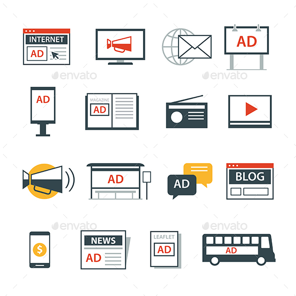 Advertising Media Icon Flat Design - Web Elements Vectors