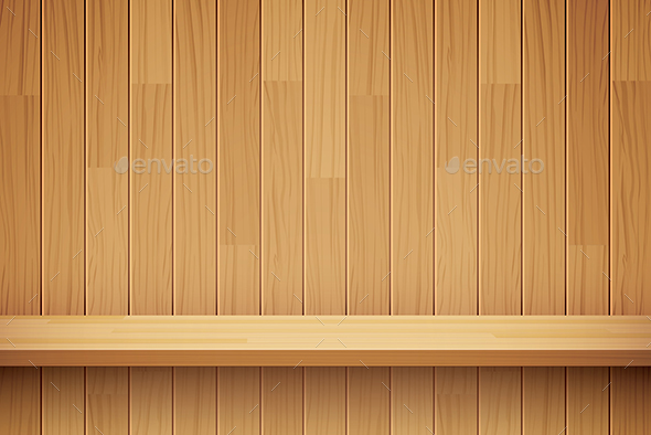Empty Wooden Shelf Background - Backgrounds Decorative