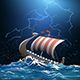 Viking Medieval Warship in Stormy Sea - GraphicRiver Item for Sale