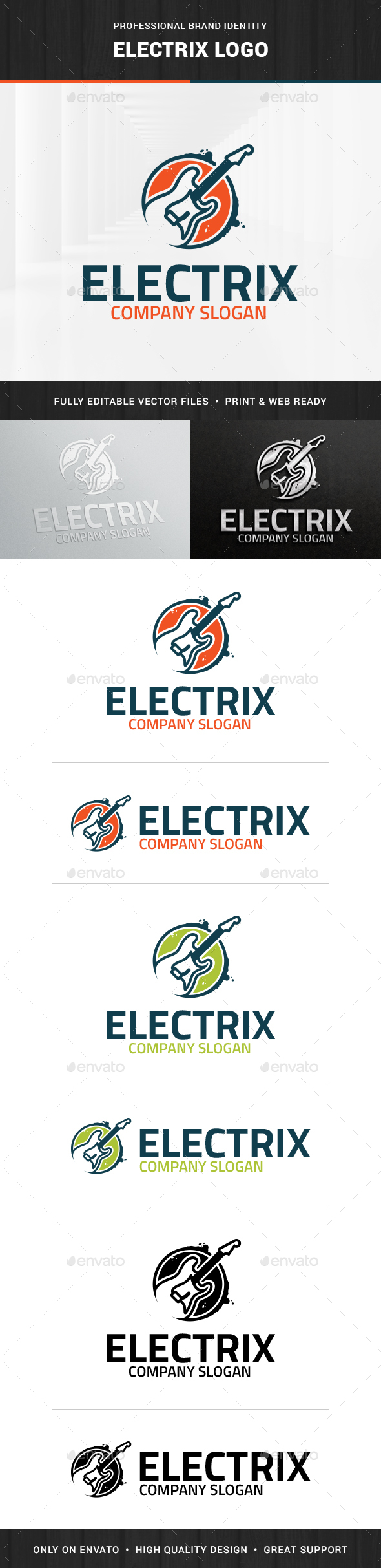 Electric Guitar Logo Template - Objects Logo Templates