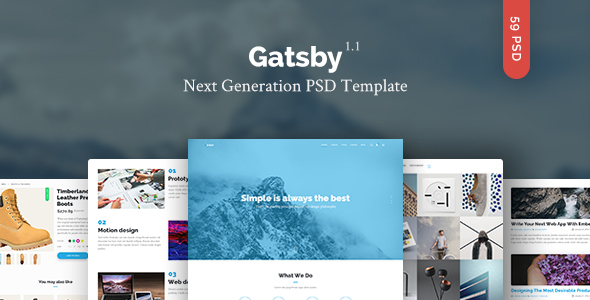 Gatsby — Creative Multipurpose PSD Template - Creative PSD Templates