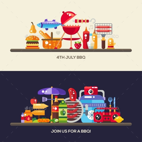 Flat Design Barbecue And Summer Picnic Banners Set - Food Objects