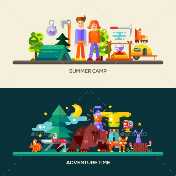 Camping And Hiking Website Banners Set - Travel Conceptual