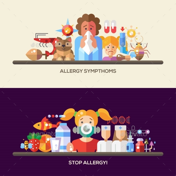 Allergy And Allergens Flat Design Website Banners - Health/Medicine Conceptual