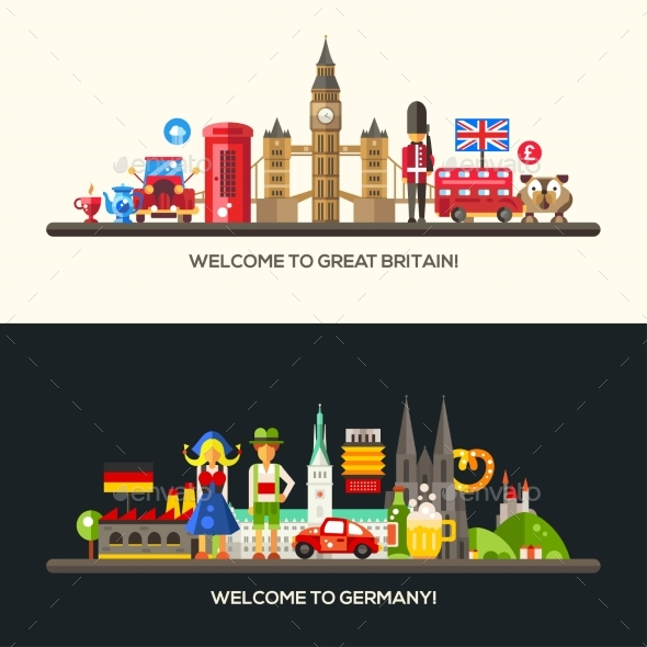 Germany, Great Britain Travel Banners Set - Travel Conceptual