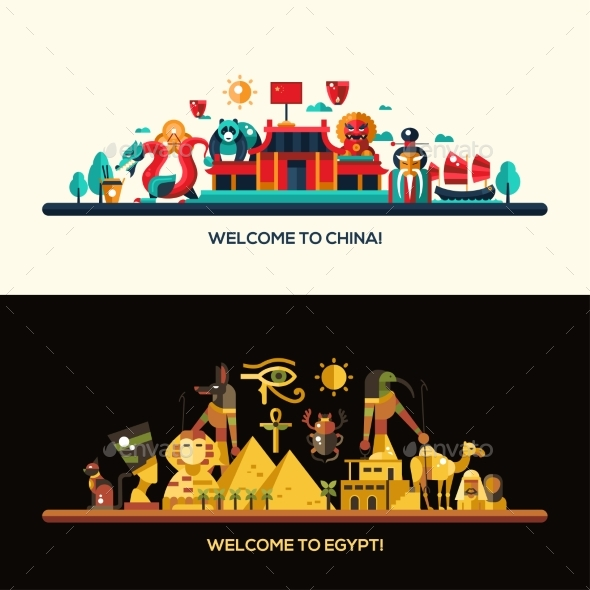 Flat Design Egypt, China Travel Banners Set - Travel Conceptual