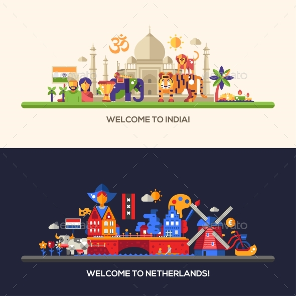 Flat Design Holland, India Travel Banners Set - Travel Conceptual