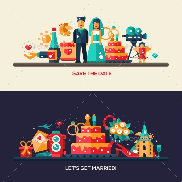 Flat Design Wedding And Marriage Banners Set - Weddings Seasons/Holidays