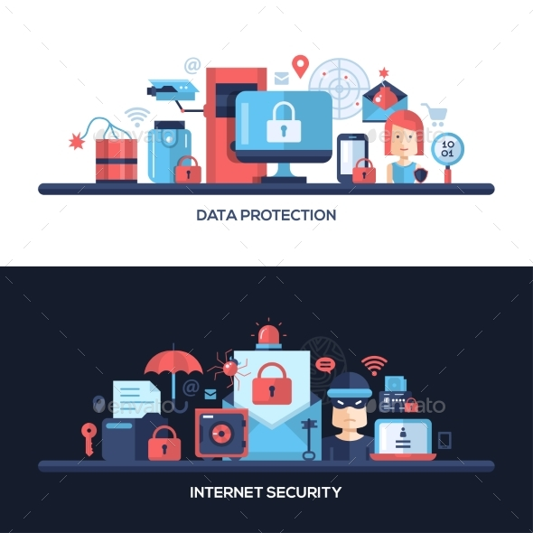 Flat Design Website Data Security Headers Banners - Technology Conceptual