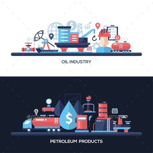 Flat Design Oil And Gas Industry Website Headers - Industries Business