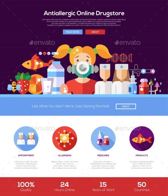 Allergy Drugstore Website Header Banner - Health/Medicine Conceptual