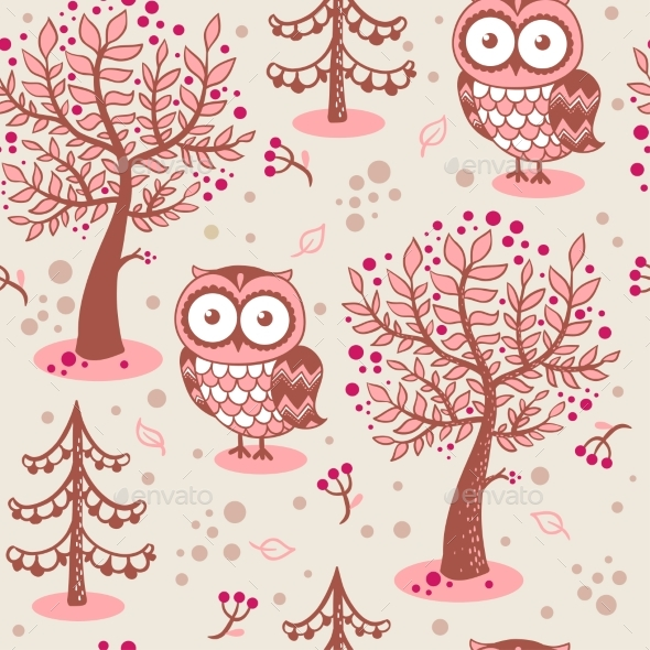 Background with Owls - Flowers & Plants Nature