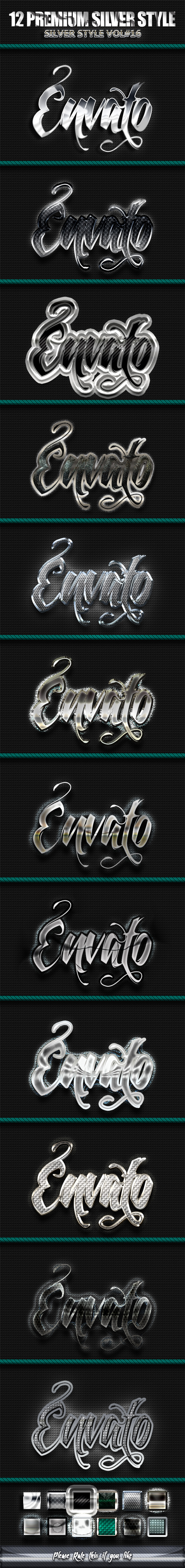 12 Photoshop SILVER Text Effect Styles Vol 16 - Text Effects Styles
