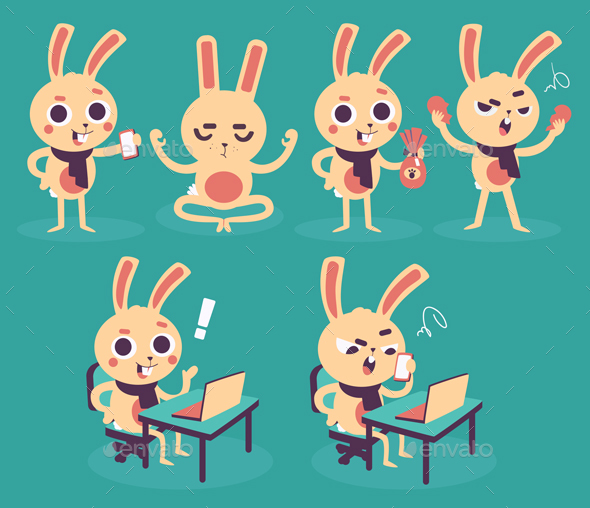 Happy Bunny Collection - Animals Characters