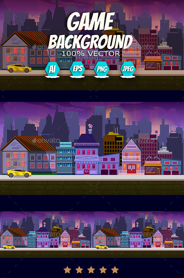 Modern City Game Background - Backgrounds Game Assets