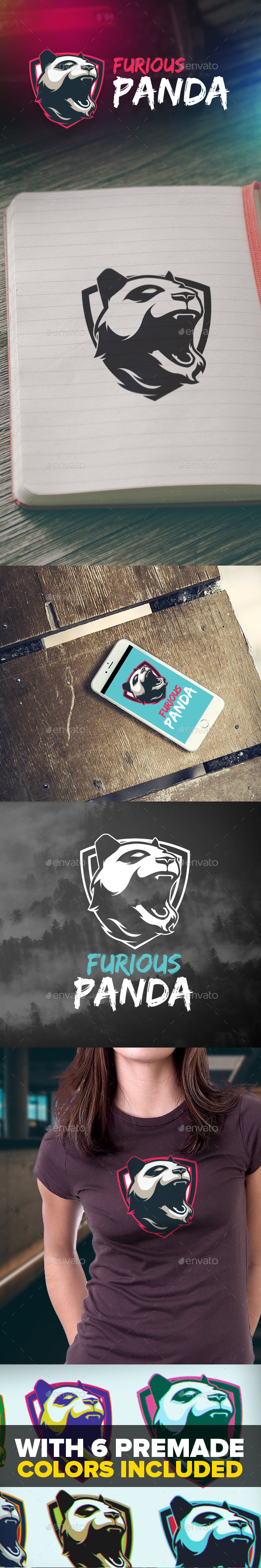 Furious Panda Logo - Animals Logo Templates